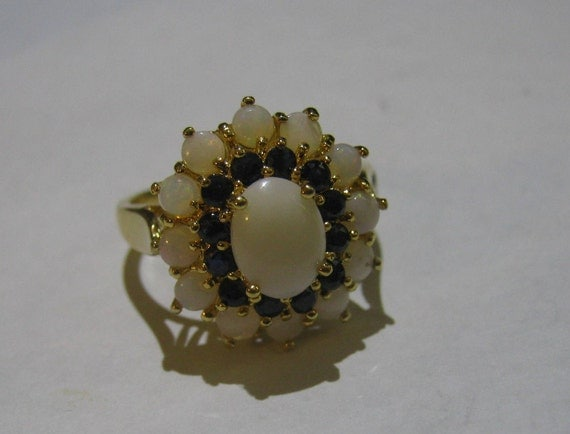 Vintage Sterling Silver Ring and Gold Overlay with Center White Jasper Surrounded by Sapphires and Opals Size 8