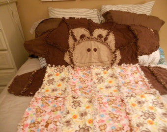 Monkey Rag Quilt , Butterfly, Dinosaur, Panda, Bear,  Animal Rag Quilts