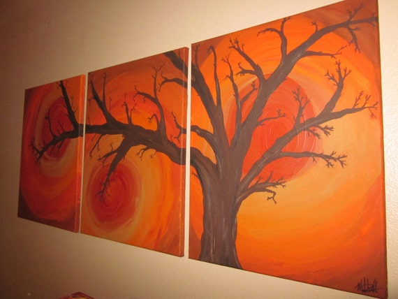 End of Summer - acrylic painting on (3 ) canvas - 16x20 panels
