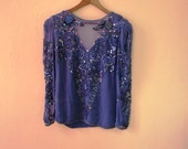 Vintage 1980s Oleg Cassinin Blue Beaded Top