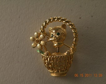 20% off GOLD CROWN, INC cat in basket brooch pin. Movable neck. Rhinestones,enamel, gold plated.
