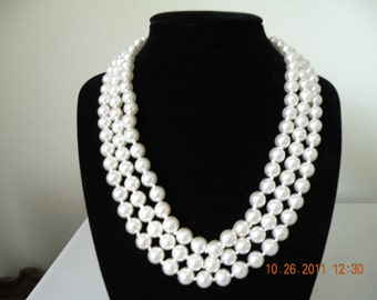 On Sale B.C.LIND Faux glass pearls 3 strands necklace. 14KGE( 14 karat gold electroplate)