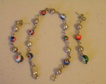 Sterling silver 925  Millefiori glass beads bracelet, earrings. Set. Italy.