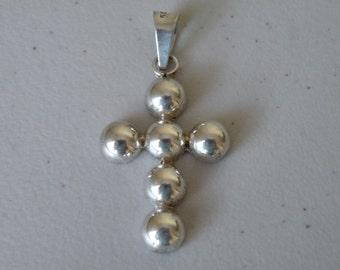 Cross ball half sphere pendant. Sterling silver 925