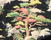 HUGE barkcloth bark cloth Asian trees 1950s drape panel for pillows, bedspread, hanging or crafting must see