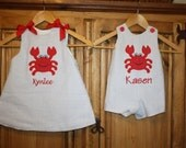 Matching crab dress and jonjon in blue seersucker by Gigi Babies