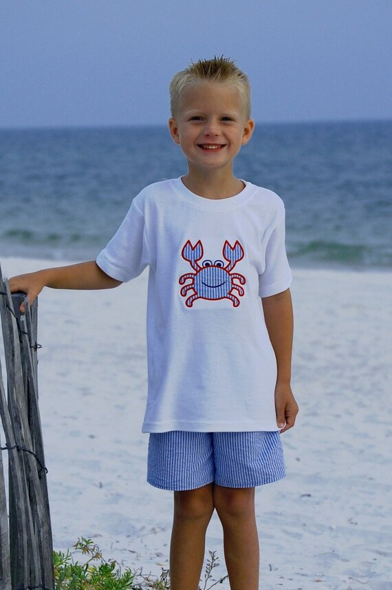 Boys tee shirt and short set with crab applique