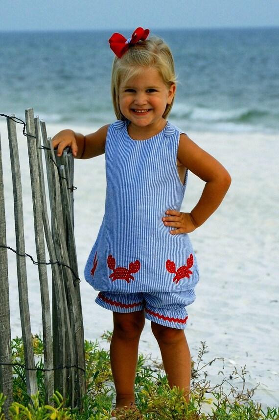 Girls 2 piece crab top and short set