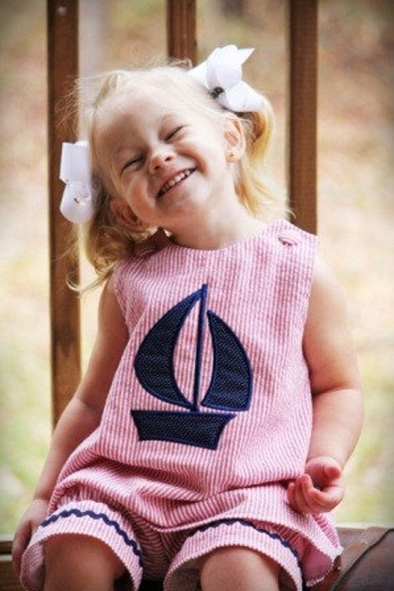 2 piece red seersucker top and bloomer short with sailboat