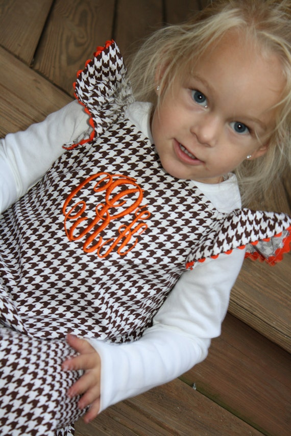 Monogrammed Chocolate Houndstooth Dress with ric rac trim