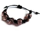 Macrame and Pink Crystal Woven Bracelet, Shambala