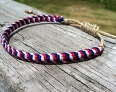 Woven Macrame Hemp Friendship Bracelet 4th of July, Red, White and Blue Unisex Adult Gift