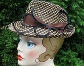 Girl friday cocktail fedora fascinator - hand-blocked 2-tone seagrass, vintage 1930s 1940s detective chic MADE TO ORDER