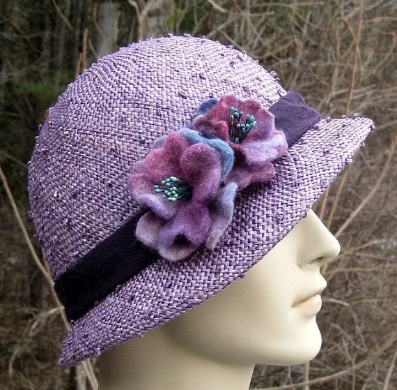 Delicious purple straw cloche hat with hand-felted roses