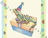 Lizard Birthday Party card - Reptile party invitation