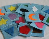Memory Game - felt memory match games - BLUE SHAPES