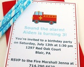 Fire Truck Birthday Invitation | Boys Fire Truck Party