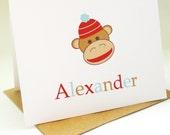 Personalized Kids Stationery Children Sock Monkey