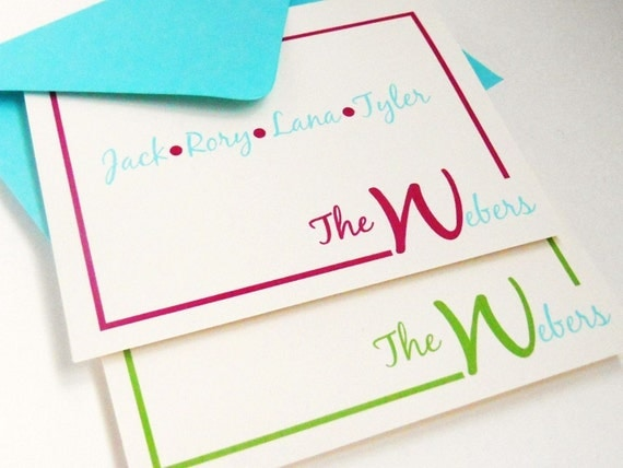 Personalized Family Stationery Modern Border