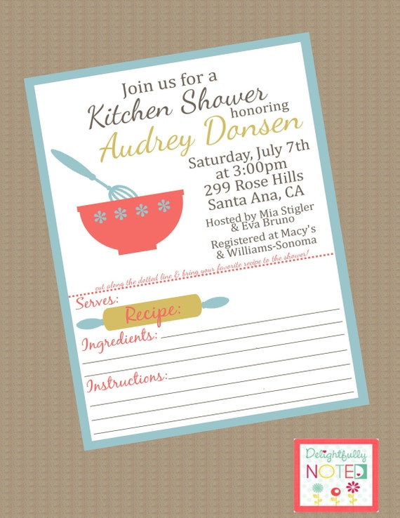 Kitchen Bridal Shower Invitations With Recipe Cards Bridal Dagh