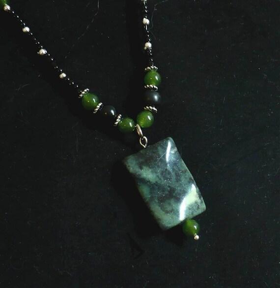 Green Jasper Necklace // Zebra Jungle Jasper // Pendant Necklace // SRAJD