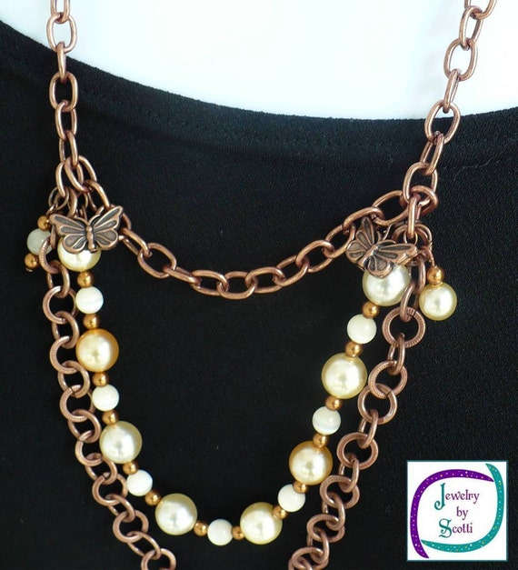 Copper Chain Cream Pearl Catseye 3 Tier Necklace
