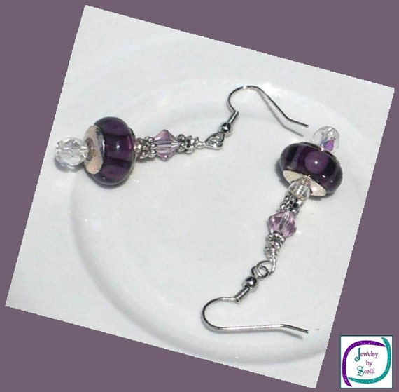 Deep Purple Charm Amethyst Crystal Silver Earrings