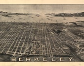 Birds Eye View Map Berkeley CA 1909