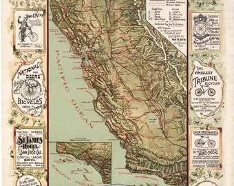 California Bicycle Map 1895