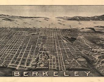 Birds Eye View Map Berkeley CA 1909