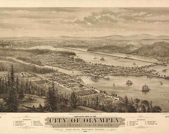 Olympia Washington Birds Eye View Map 1879