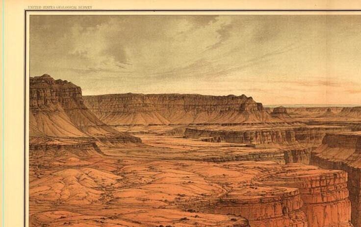 Grand Canyon Drawing USGS 1882 Birds Eye View