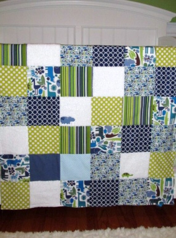 Large Patchwork Baby Blanket / Quilt - Michael Miller Fabrics 2D Zoo, Chenille and Flannel
