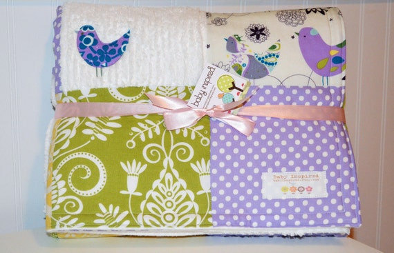 Baby Blanket Large Patchwork Girl's Baby Blanket / Quilt - Little Birds, Purple, Green and Yellow Designer Fabrics, Chenille and Flannel