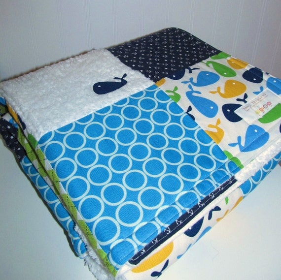Large Patchwork Baby Blanket / Quilt - Whale Themed, Navy, Green, White, Chenille and Flannel