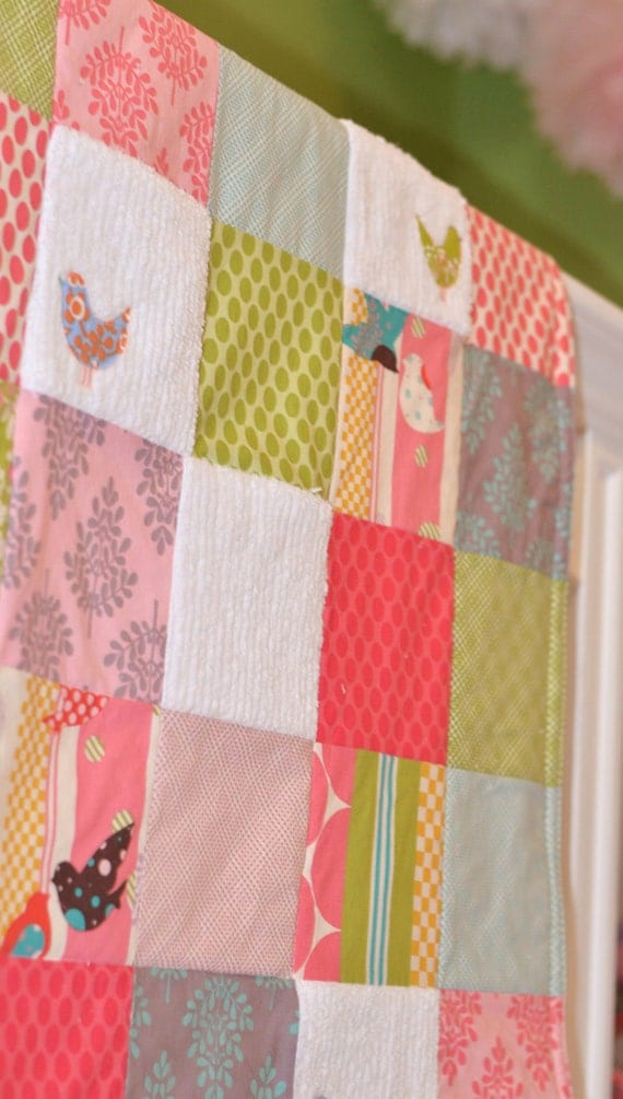 Baby Blanket Large Patchwork Girl's Baby Blanket / Quilt - Little Birds, It's a Hoot Fabrics, Chenille and Flannel
