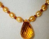 Honeycomb - Madeira citrine briolette with pearls and hessonite garnet