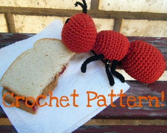 """Amigurumi Toy Ant PDF Crochet Pattern INSTANT DOWNLOAD """"The Agreeable Ant"""""""
