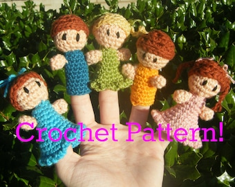 "Amigurumi Finger Puppet PDF Crochet Pattern INSTANT DOWNLOAD ""Little Finger Friends"""