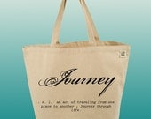 Canvas Tote Bag-Large Carry All Cotton Tote- Journey-Definition-Word-Typography