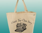 Canvas Tote Bag-Large Carry All CottonTote- Create Your Own Story-Vintage Typewriter