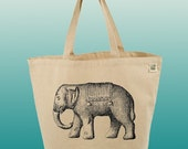 Canvas Tote Bag-Large Carry All Cotton Tote- Elephant Journey-Asian Elephant-Black and White