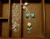 Blue Bird and Vintage Pearl Charm Necklace