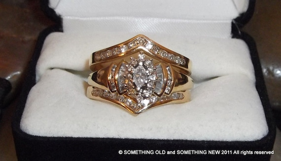 SOLD!!! On reserve for Linda Gorgeous 14 kt Yellow Gold 1.50 ct Carat Diamond Wedding set. Price drastically reduced