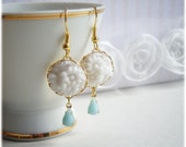 Earrings -Summer Fairytale- Romantic, Pastel, Shabby Chic, White and Aqua Vintage Jewels, gift under 15