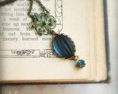Art Nouveau Necklace- Vintage blue jewels on verdigris patina brass- Reverie- delicate, romantic