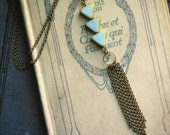 Geometric Tassel Necklace, Ariadne, turquoise czech glass triangle beads and antiqued brass chain tassel, gift under 25