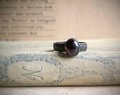 Reserved listing for Eleni - Garnet Ring, Sicily, oval garnet gemstone on antiqued brass ring band