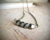 Pyrite Necklace, bold minimalistic geometric iron pyrite nuggets on antiqued brass necklace, gift under 15