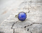 Indigo and Gold Ring -Island Blues- vintage blue and gold handpainted glass stone on brass, romantic ring, adjustable, gift under 15, sale